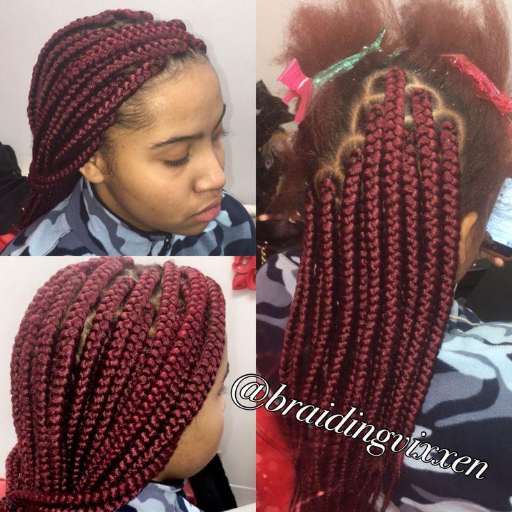 """Medium box braids tucked """"hid"""" natural hair color IG: @braiding.vixxen"""