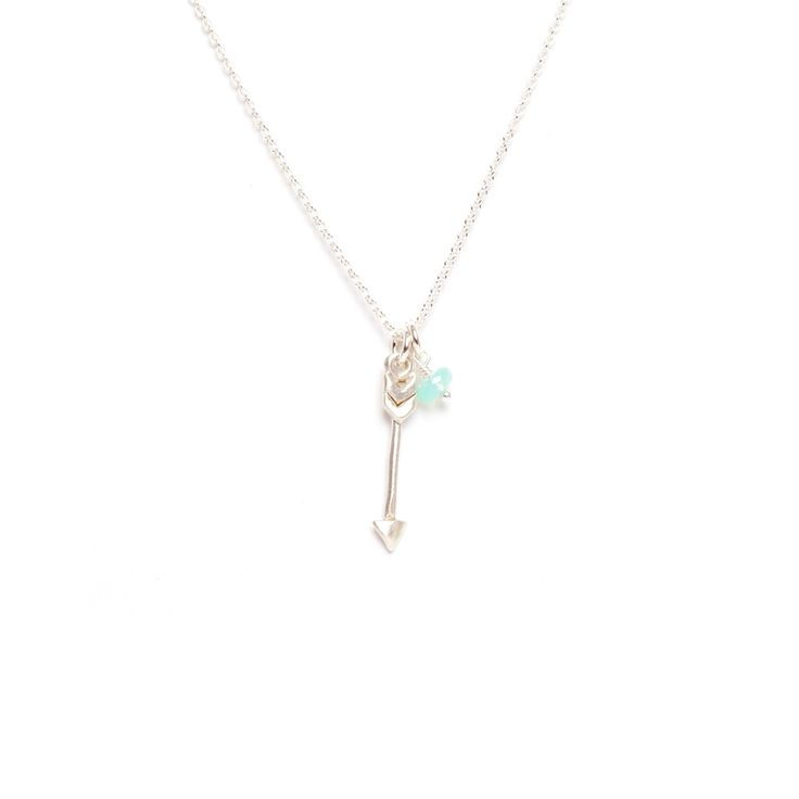 Arrow Sterling Silver Pendant with Gemstone Necklace by Marmalade Design