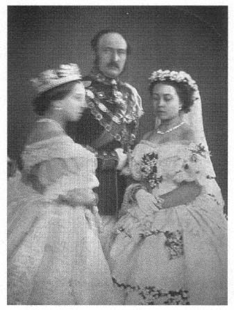 The famous picture of Queen Victoria and Prince Albert with their daughter Victoria on her wedding day, 25 January 1858. The Queen is blurry because she couldn't stop shaking from the anxiety of her daughter leaving home.