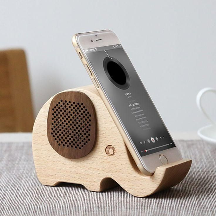 Elephant Shaped Wooden Wireless Bluetooth Speaker with Mobile Phone Stand Holder