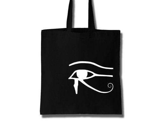 Cotton Tote Bag Women The Eye of Horus by KLogBarcelona on Etsy