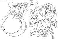 Эльфы - скачать и распечатать раскраску. Раскраска Феи цветов, маленькие феи, раскраски фея, скачать раскраску для девочки