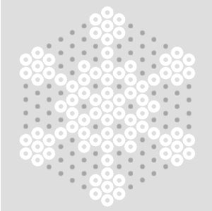 A collection of traditional Hama Bead Snowflake patterns using white & clear midi beads and small hexagon pegboard. Hama Bead Snowflakes in white beads on a small hexagon pegboard. It's a good idea to fill the rest of the board with clear beads if you want these to be Christmas Decorations, leaving one space for a hanging hole, to make them stronger; the clear gives it an extra sparkle. They also look nice on other background colours.