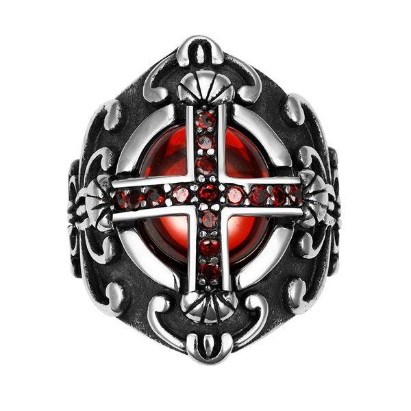 Retro 316L Stainless Steel Red Zircon Cross Ruby Finger Ring For Men