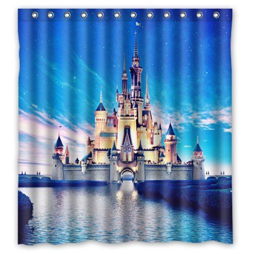 """Popular castle Bathroom Shower Curtain, Shower Rings Included 100% Polyester Waterproof 66"""" x 72"""""""
