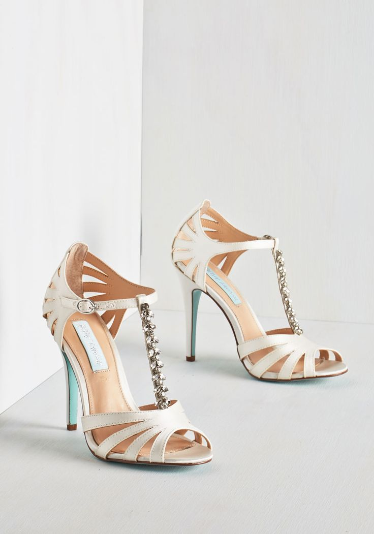 The Spectacular Vow Heel by Betsey Johnson - High, Faux Leather, Satin, White, Solid, Rhinestones, Special Occasion, Prom, Wedding, Bridesmaid, Bride, Luxe, Better