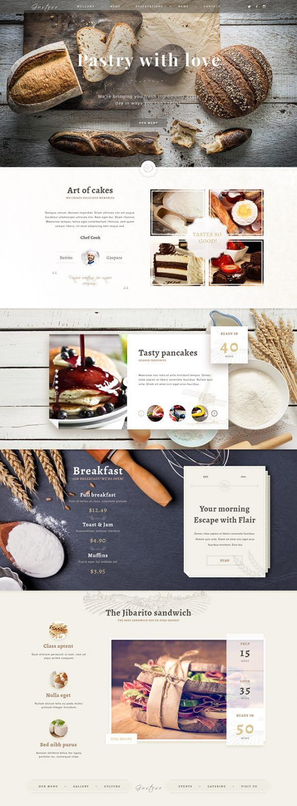 A free PSD one page website template for bakeries