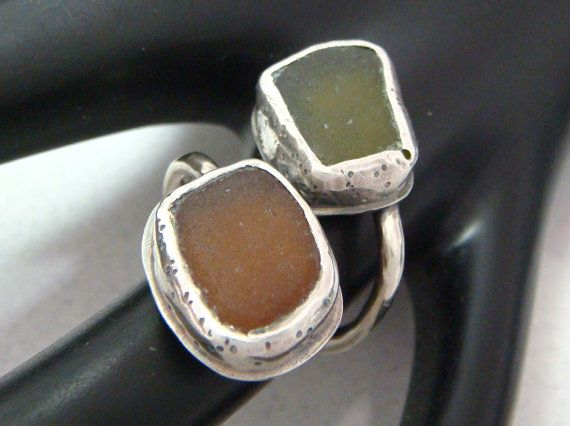 SCJJewelryDesign - Beach Glass Ring - Green and Brown Sea Glass Ring - Silver ByPass Ring - Root Beer and Olive Beach Glass Jewelry - Size 5 and a Half  to Six