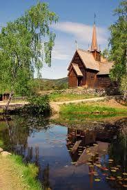 Garmo stavchurch in Maihaugen in idyllic Lillehammer
