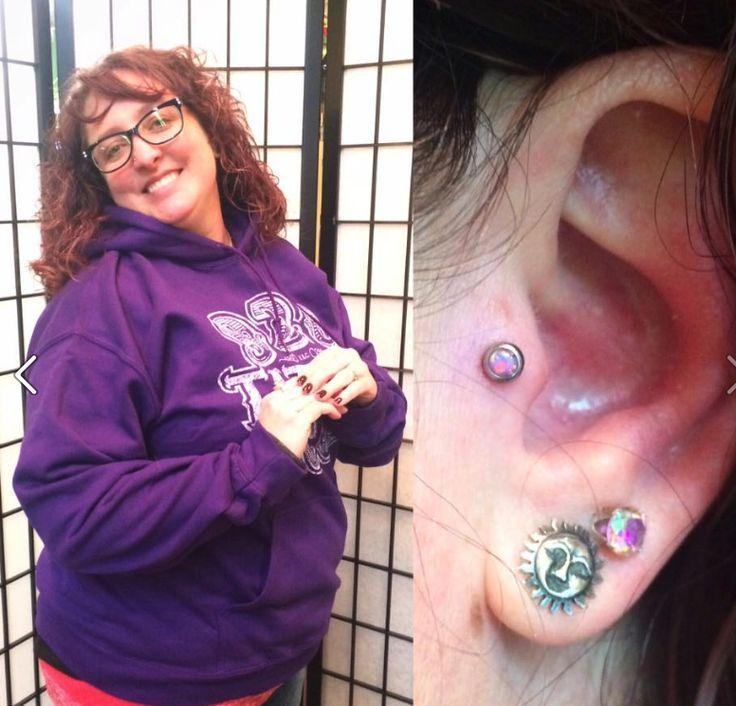 Lovely tragus piercing with opal gem done by Molly Moon! #920tattooco #920tattoo #piercingsbymollymoon #piercings #bodyjewelry #earpiercing