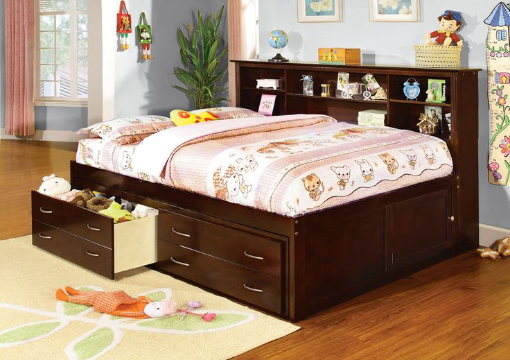 Furniture Design :: Childrens Furniture :: Kids Bed Sets :: Hervey Espresso  Finish Wood Full Size Captains Bed With Large Storage Drawers And Storage  ...