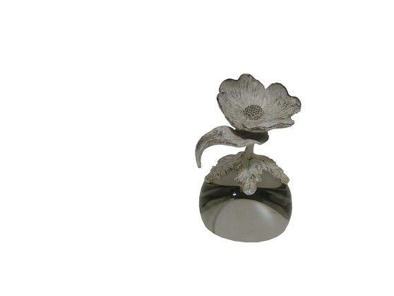 Ozdoba Szklana Z Metalowym Kwiatem