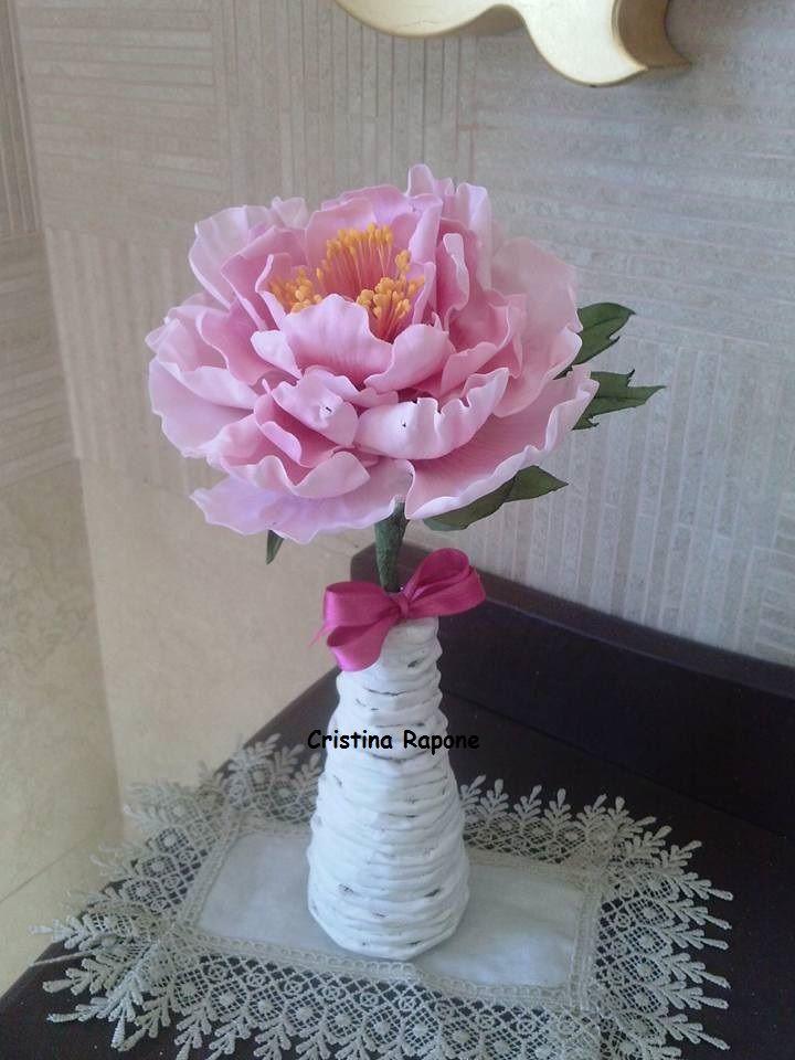 peonia in porcellana fredda di Cristina R.