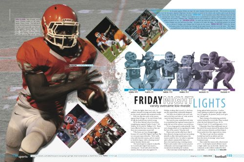 Football spread. Ditch the cliche Friday Night Lights headline, but I like the rest. Especially the large cutout.