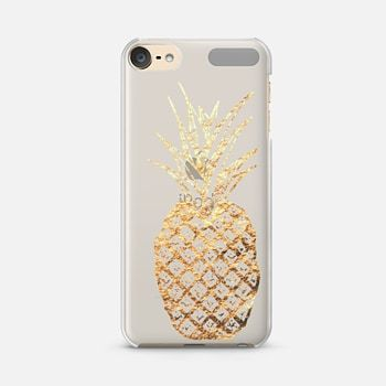 iPod Touch 6 Case Faux Gold Leaf Fruity Summer Pineapples on Transparent Background