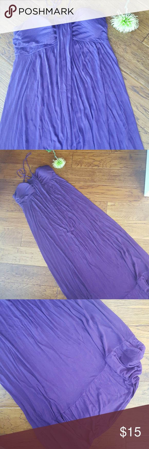 Purple maxi Soft dark purple maxi dress with a t-strap speghetti straps. Color matches the color dot below. Soft cups in bust. Excellent condition. Allen B by Allen Schwartz Dresses Maxi