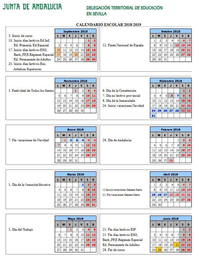 Calendario Sevilla.Calendario Escolar Sevilla Curso 2018 2019 Artistas Calendario