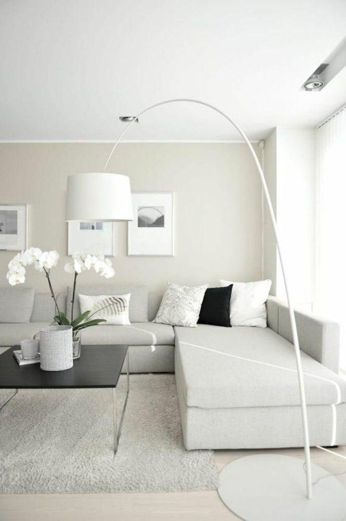 Les 25 meilleures id es concernant salons beiges sur - Idee peinture salon noir et blanc ...