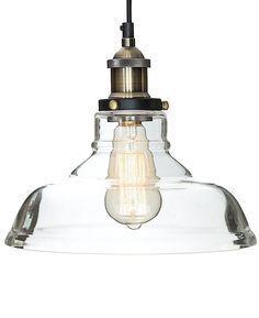 "Glass Pendant Light ""The Loft"" with Vintage Edison Light Bulb - Gorgeous Single Bulb Chandelier Lighting - Industrial Design, Clear Glass Pendant"