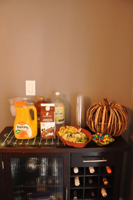 drink table for a brunch.  seattle seahawks football game party.  easy decorations and food with recipes.