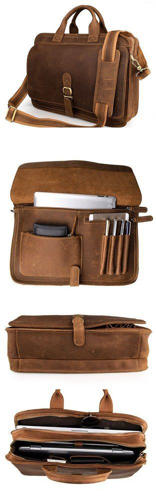 Image of Mens Genuine Leather Briefcase #Laptop Tote Bags Shoulder Business #Messenger Bags