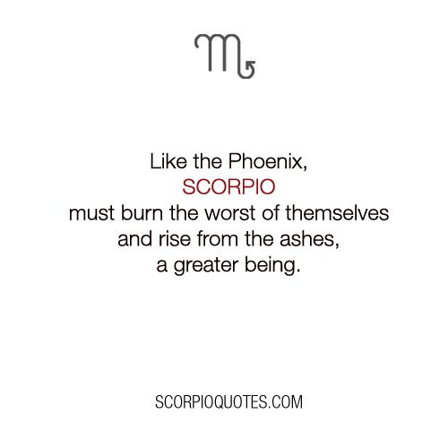 Quotes for Scorpio:     Like the Phoenix, Scorpio must burn the worst of themselves and rise fr...