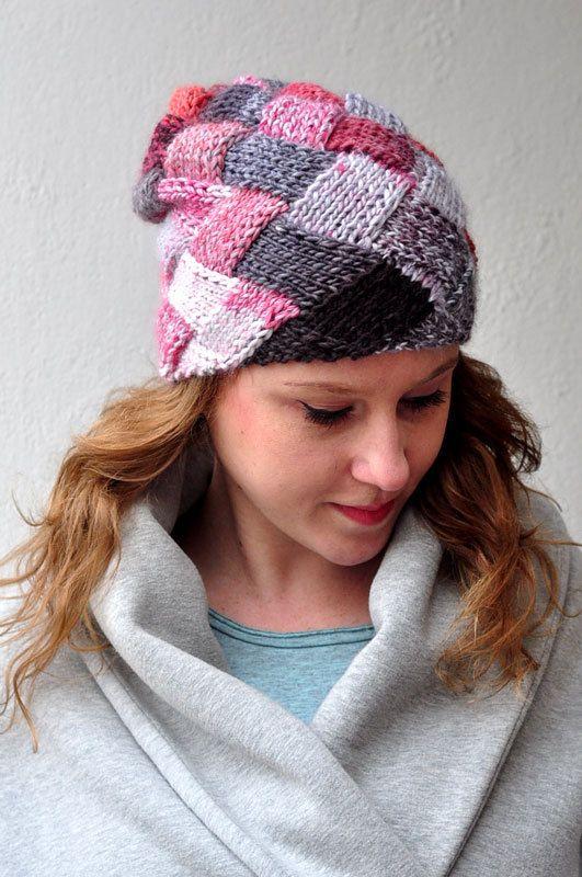 CUBE hat-chess  hand made  knitted ooak wool by dagmarabuczek
