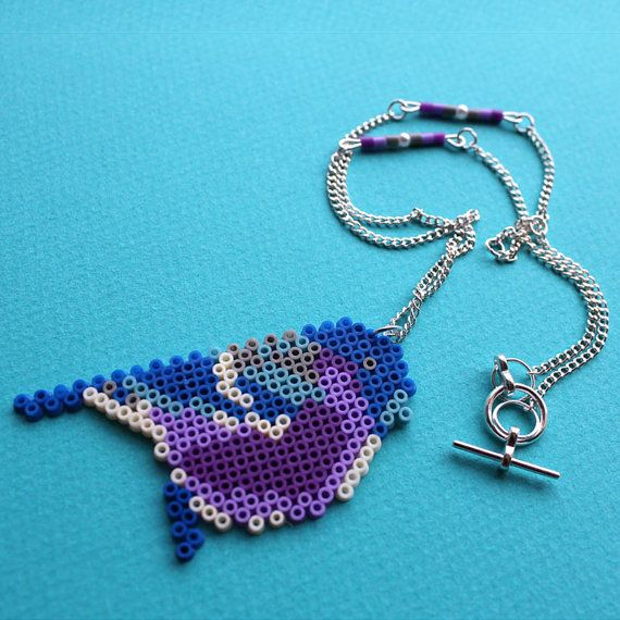 Little Birdie Necklace hama beads by GiveMeColours