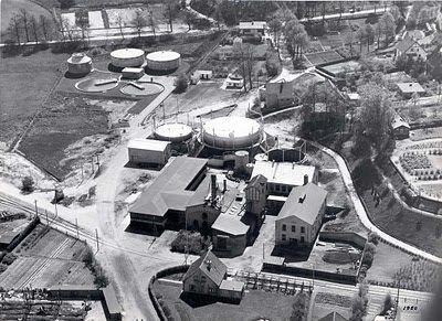 Hobro Gasværk på Hobro havn 1950