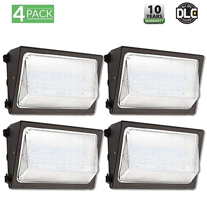4 Pack Ul Dlc Listed Led 50w Wall Pack Outdoor Lighting 5000k Cool White 4 500 Lumens 250 Watt Eqvlncy 50 000 Life Hours Visor Included Highest Qual Wall Packs Wall Lights 5000k
