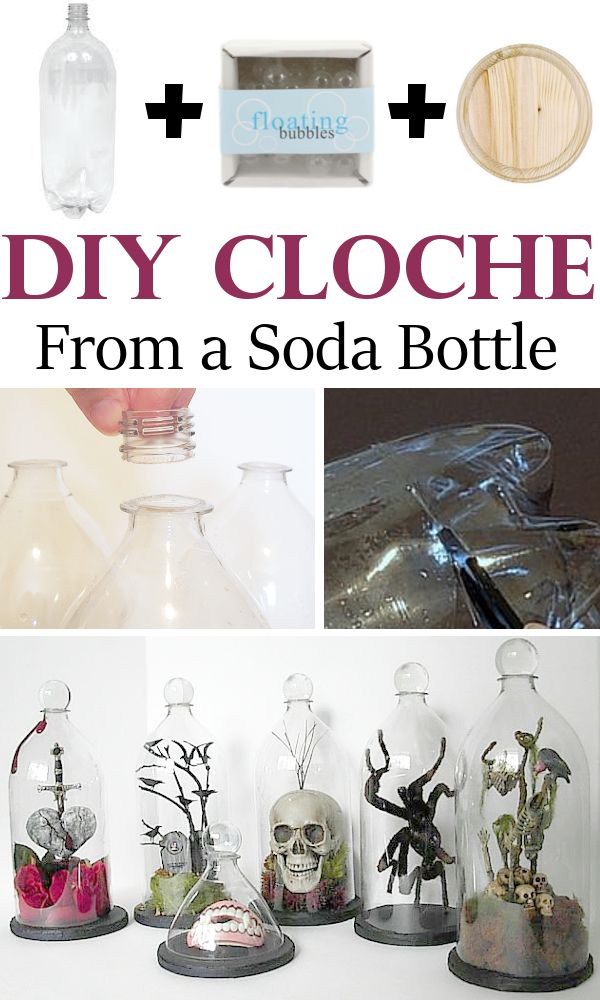 DIY Home Sweet Home: Diy Cloche From a Soda Bottle - this is for halloween but you can do it with other things like flowers , ceramic angels or ...