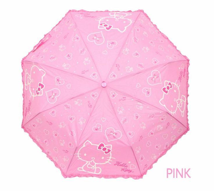 Hello Kitty Umbrella 3 Fold Woman Lady Girl Kids Children Gift Love Heart Pink