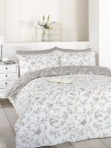French-Bird-Flowers-Floral-Toile-Taupe-White-Grey-Double-Duvet-Cover-Set