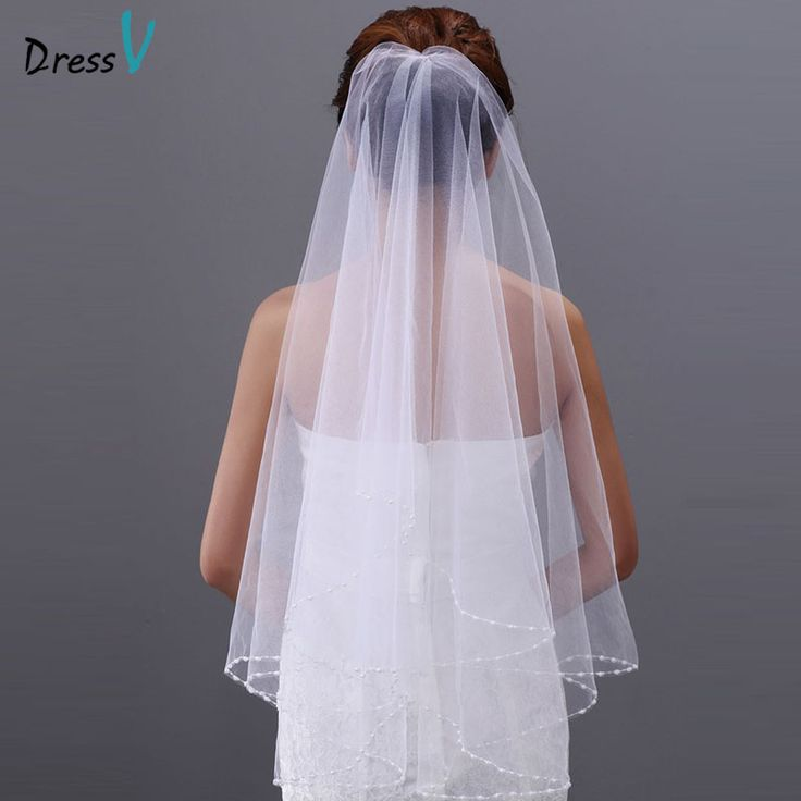 Dressv White Ivory Wedding Veil Tulle Beaded Elbow Bridal Two Layer Bead Edge