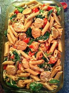 light pasta bake with chicken sausage, mozzarella, spinach & tomatoes.