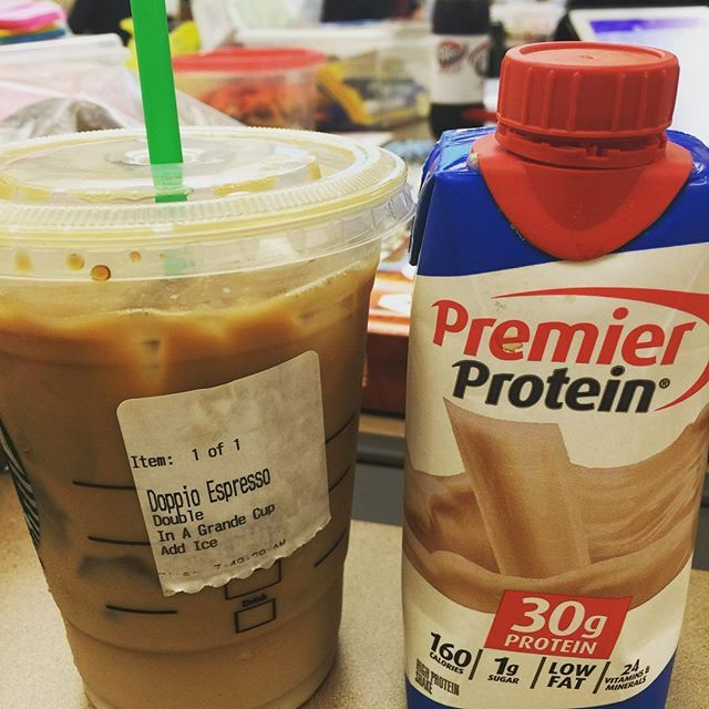 A friend from work gave me this idea. Order two shots of espresso over ice in a grande or venti cup (depending on how strong you like your coffee), and pour your Premier Protein over it.