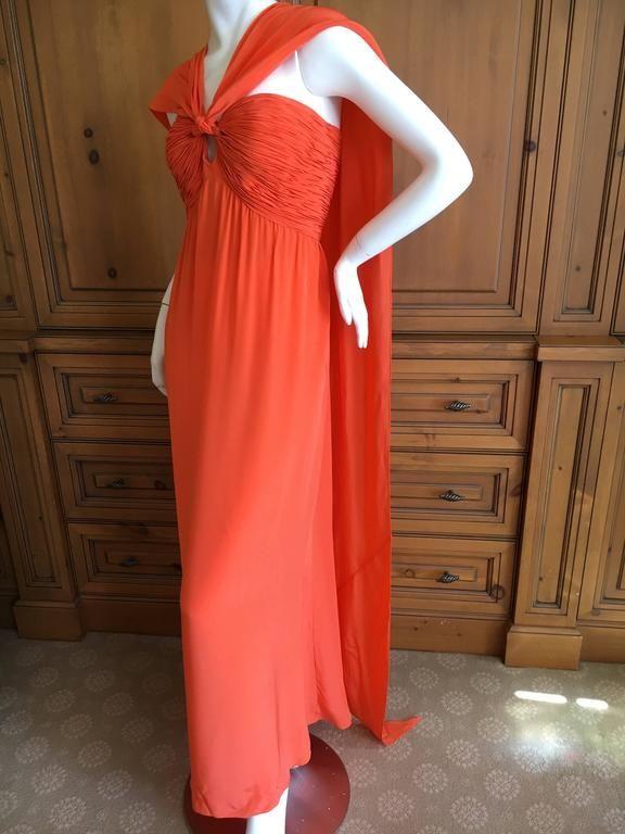 Oscar de la Renta Tangerine Strapless Evening Dress with Detachable Scarf Cape