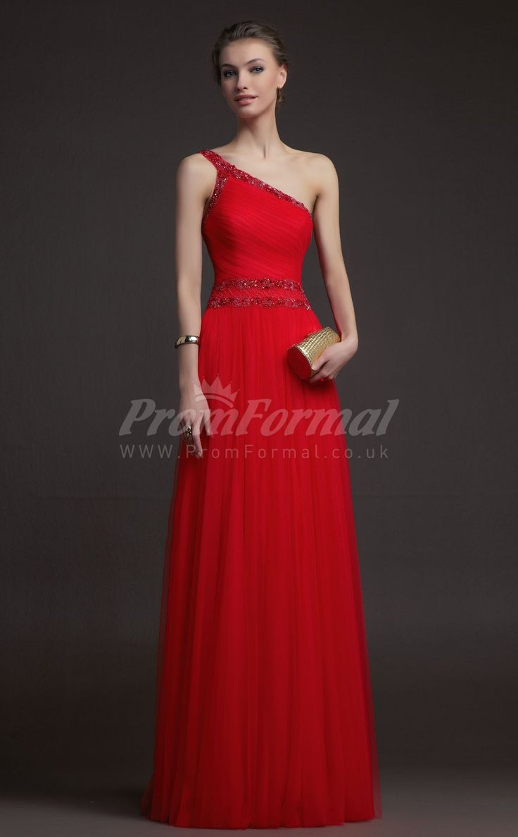 Charming Red One Shoulder Tulle Floor-length Prom Dresses(PRJT04-0859) - PromFormal.co.uk