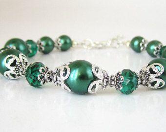 Pulsera de la perla esmeralda, verde de Dama de honor de conjuntos, conjunto de cristal otoño de bosque boda joyas, conjunto de novia perlas, bodas, regalo de la fiesta nupcial,
