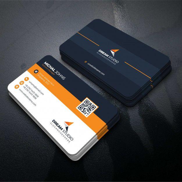 Download Orange Shape Visit Card For Free (com Imagens