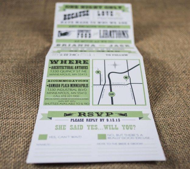 "Tri-fold wedding invite with detachable RSVP.  Unfolded: 5""x14"" Folded: 5""x3.5"""