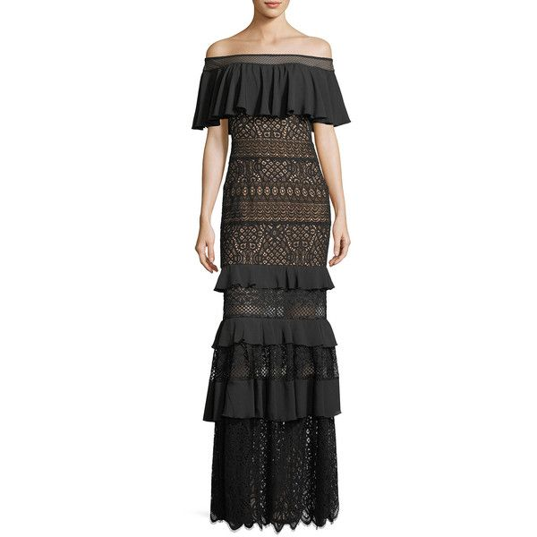 Tadashi Shoji Off-the-Shoulder Crochet Ruffle Evening Gown ($590) ❤ liked on Polyvore featuring dresses, gowns, black, tadashi shoji dresses, ruffled dresses, short sleeve dress, tadashi shoji gowns and off the shoulder dress