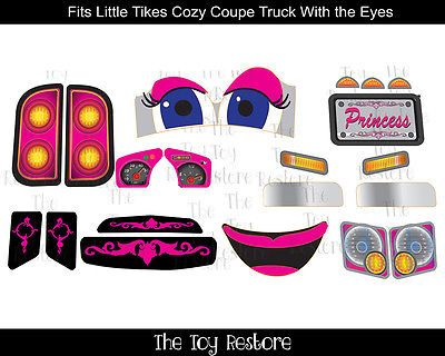 Replacement-Decals-fits-Little-Tikes-Cozy-Coupe-Truck-With-Eyes-Princess-NL