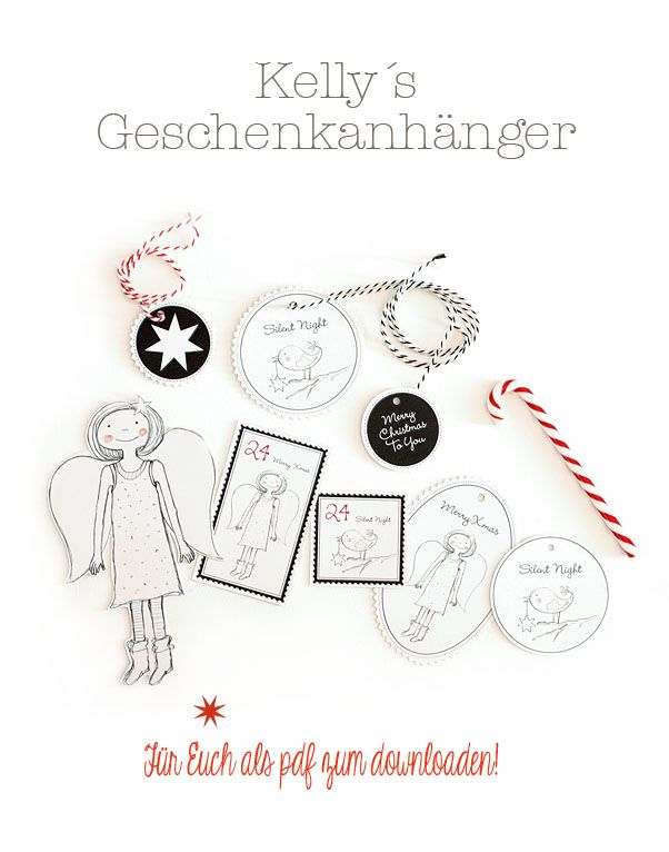 Free printable angel and bird Christmas gift tags from Les Tissus Colbert: Kelly´s Corner: Mein Geschenkanhänger-Freebie.