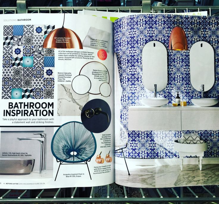 Suzy Amolis's geometric wallpaper and our very own Azulejos appear in the Feb 2016 Issue of House and Leasure Magazine.