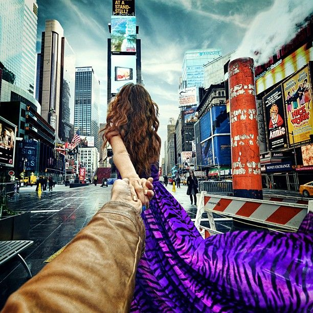 Times Square, NY | Russian photographer Murad Osmann is led around the world by his girlfriend Nataly Zakharova in his Follow Me project.