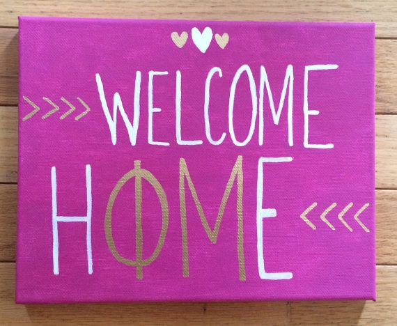 Phi Mu Welcome Home Painted Canvas by SoCollegeChic on Etsy