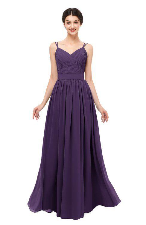 b21c5b1919c6 ColsBM Bryn Violet Bridesmaid Dresses Floor Length Sash Sleeveless Simple A- line Criss-cross Straps