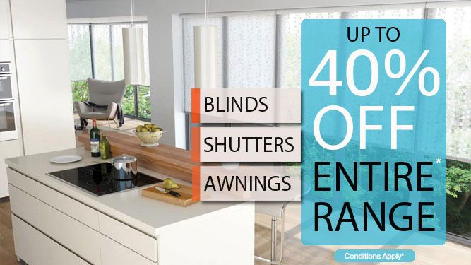 Book your FREE measure & quote ONLINE TODAY to ensure you don't miss out our current special Up to 40% off sale on Blinds, Shutters and Awnings! Offer ends January 22.  To See the range of colours on offer or to book a FREE measure & quote: Visit http://apolloblinds.com.au/specials/ or Email us sales@apolloblinds.com.au - Call us 132 899