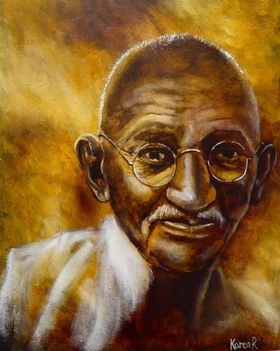 "Daily Paintworks - ""Gandhi"" - Original Fine Art for Sale - © Karen Robinson"